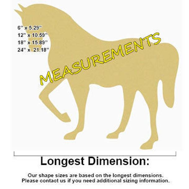 Horse Unfinished Cutout Paintable Wooden MDF MEASUREMENTS
