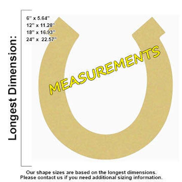 Horseshoe Unfinished Cutout measurements