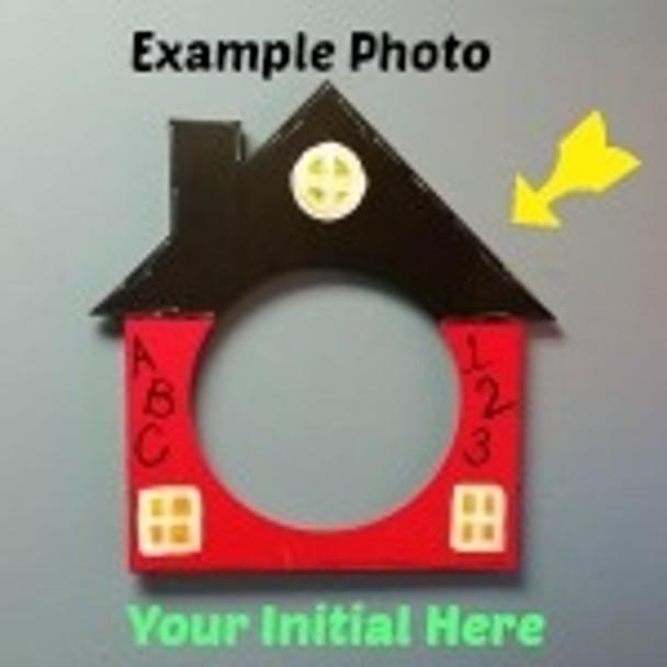 House Frame Letter Insert Wooden Monogram Unfinished DIY Craft