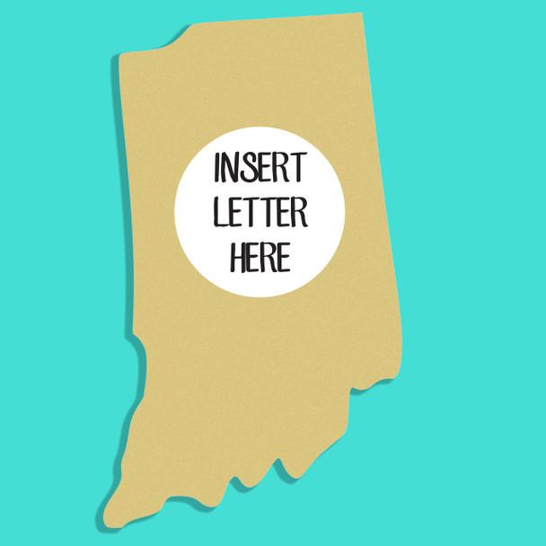 Indiana Frame Letter Insert Wooden Monogram Unfinished DIY Craft