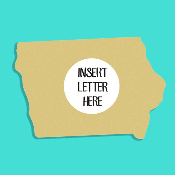 Iowa Frame Letter Insert Wooden Monogram Unfinished DIY Craft