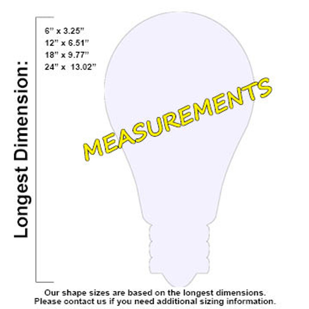Light Bulb Unfinished Cutout, Wooden Shape,  Paintable MDF DIY Craft