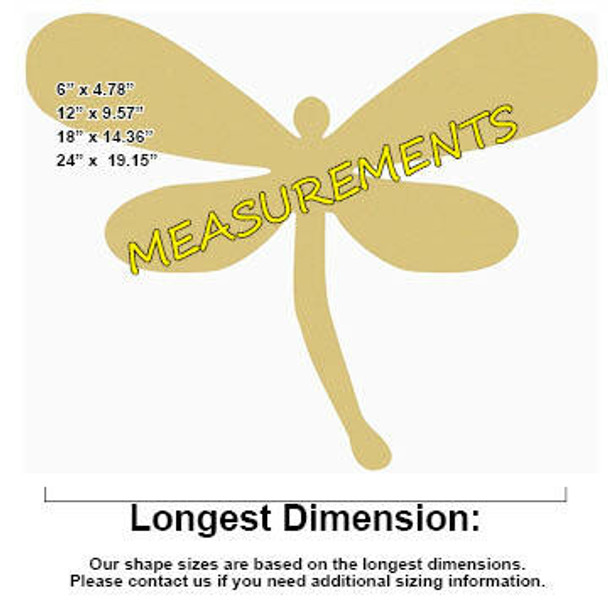 Magical Dragonfly Unfinished Cutout MEASUREMENTS
