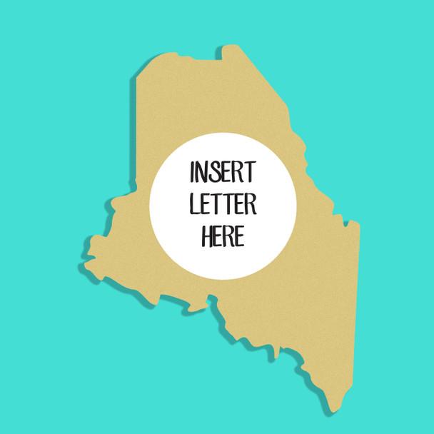 Maine Frame Letter Insert Wooden Monogram Unfinished DIY Craft