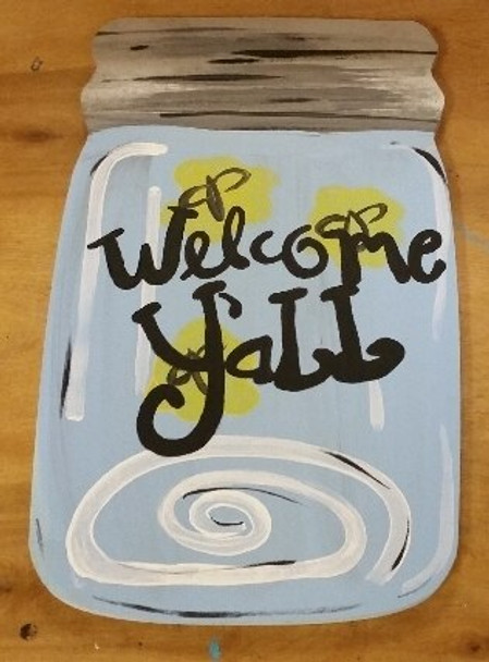 Mason Jar Unfinished Cutout Paintable Wooden MDF-Welcome