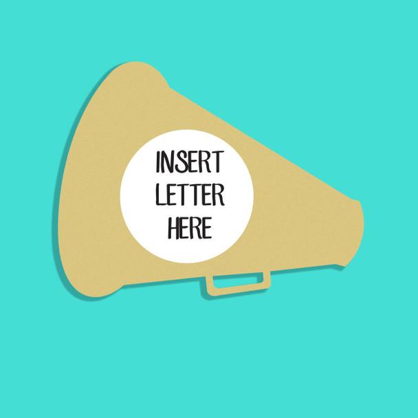 Megaphone Frame Letter Insert Wooden Monogram Unfinished DIY Craft