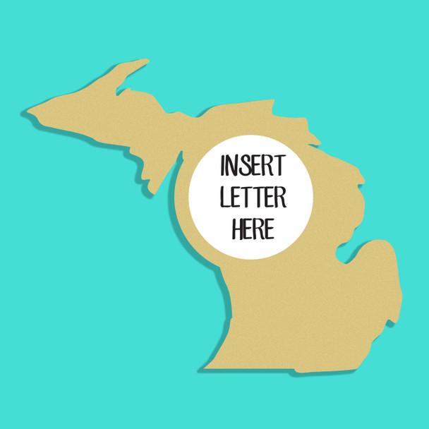 Michigan Frame Letter Insert Wooden Monogram Unfinished DIY Craft
