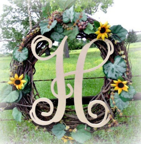 H-Monogram Letter Uppercase Wooden