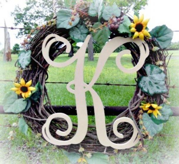 K-Monogram Letter Uppercase Wooden