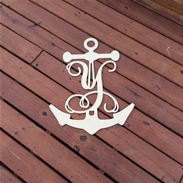 Anchor Frame Monogram Letter-Y