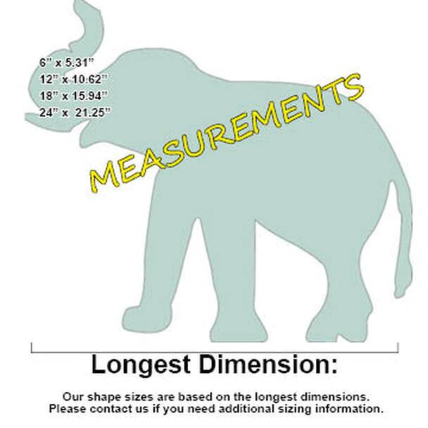 Elephant Unfinished Cutout, Paintable Wooden MDF-Measurements