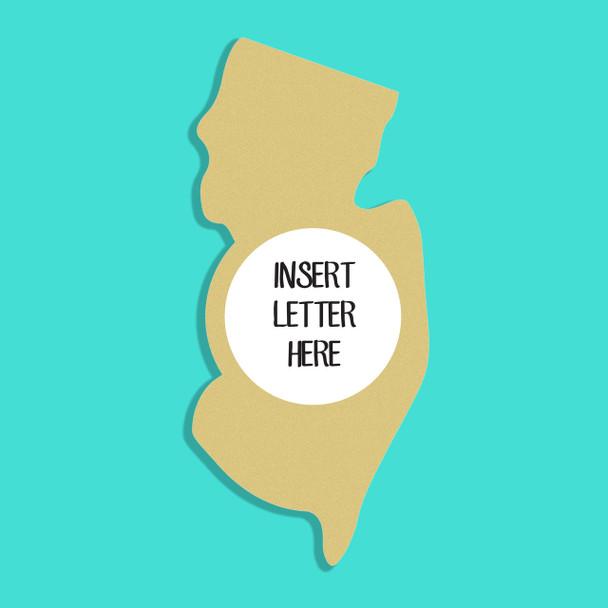 New Jersey Frame Letter Insert Wooden Monogram Unfinished DIY Craft