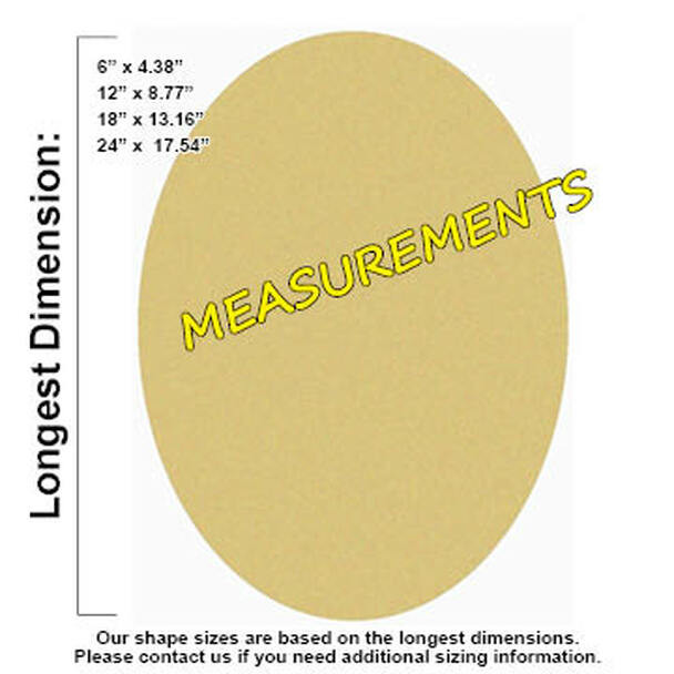 Oval Unfinished Cutout, Paintable Wooden MDF-Measurements