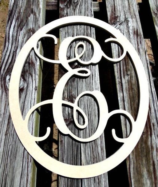 Oval Monogram Letter, Frame Wooden - Unfinished  DIY Craft