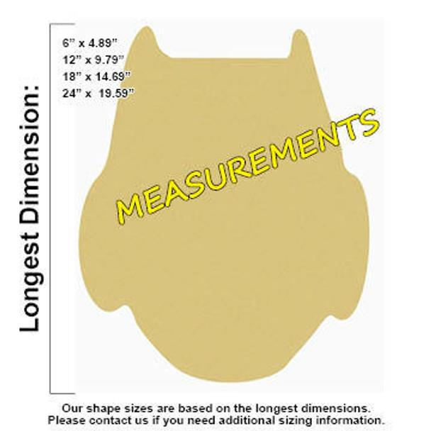 Owl Unfinished Cutout Paintable Wooden MDF measurements