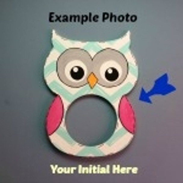 Owl Frame Letter Insert Wooden Monogram Unfinished DIY Craft