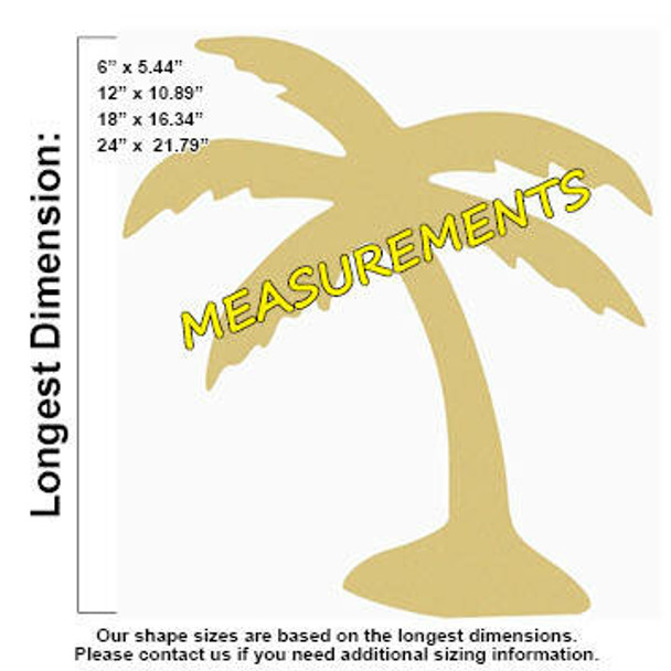 Palm Tree Unfinished Cutout Paintable Wooden MDF MEASUREMENTS