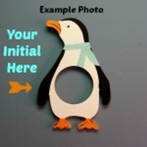 Penguin Frame Letter Insert Wooden Monogram Unfinished DIY Craft