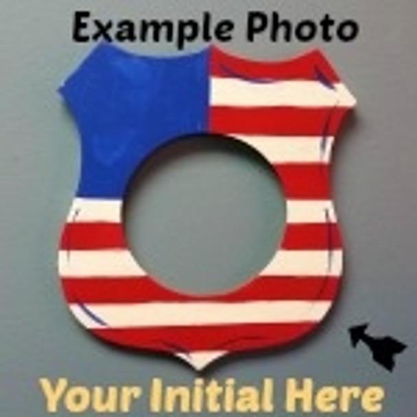 Police Badge Frame Letter Insert Wooden Monogram Unfinished DIY Craft