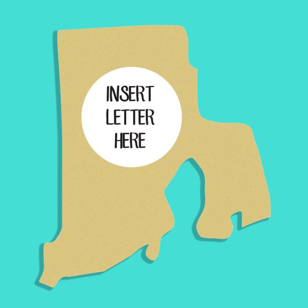 Rhode Island Frame Letter Insert Wooden Monogram - Unfinished  DIY Craft