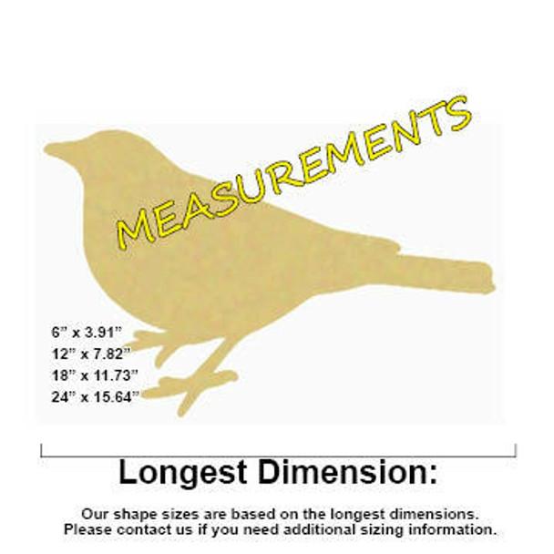 Robin Bird Unfinished Cutout measurements