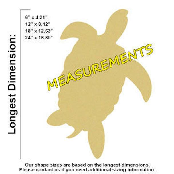 Sea Turtle Unfinished Cutout Paintable Wooden MDF measurements
