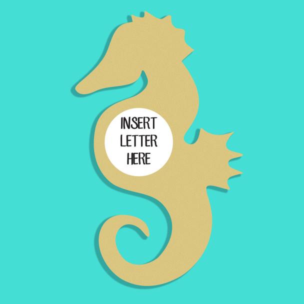 Sea Horse Frame Letter Insert Wooden Monogram Unfinished DIY Craft