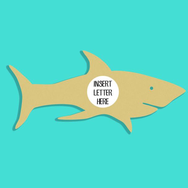 Shark Frame Letter Insert Wooden Monogram Unfinished DIY Craft