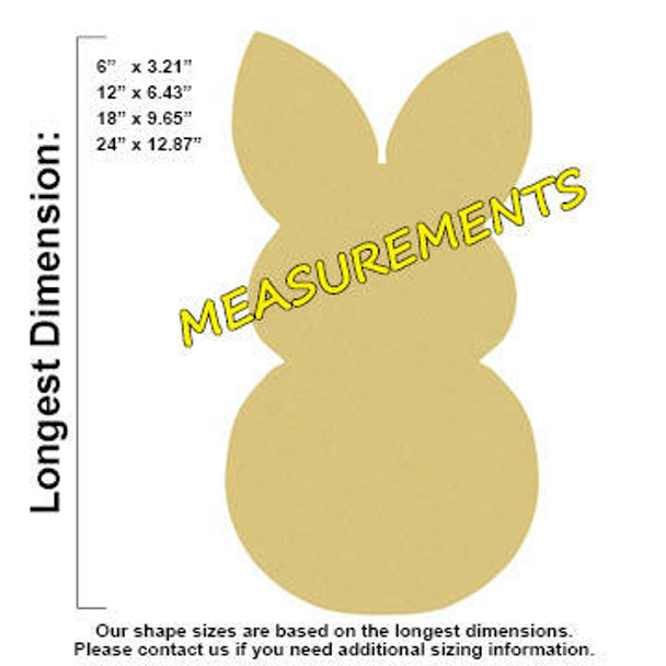 Snow Bunny Unfinished Cutout Paintable Wooden MDF measurements