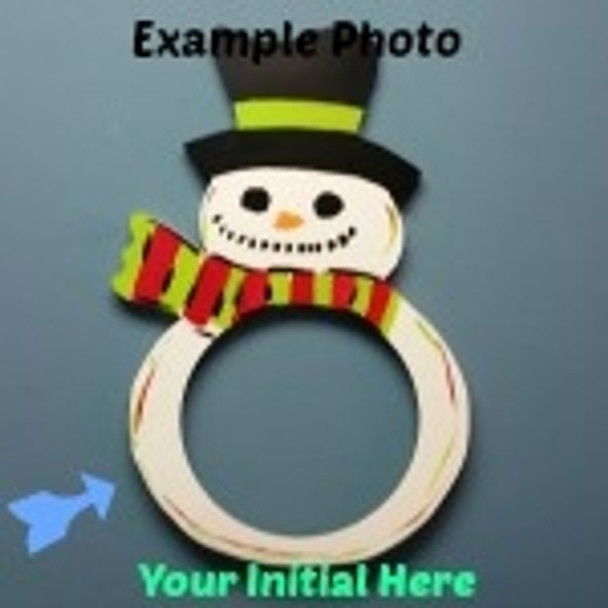 Snowman 2 Frame Letter Insert Wooden Monogram Unfinished DIY Craft