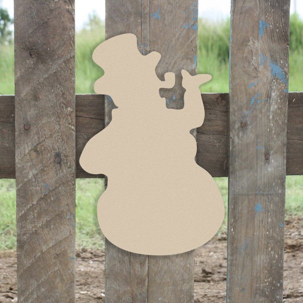 Christmas Snowman With Pipe Unfinished Cutout, Wooden Shape, Paintable