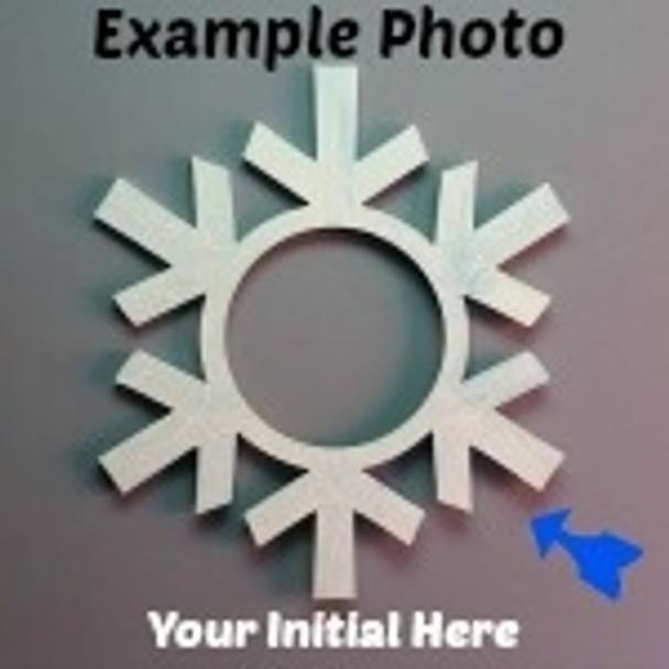 Snowflake Frame Letter Insert Wooden Monogram Unfinished DIY Craft