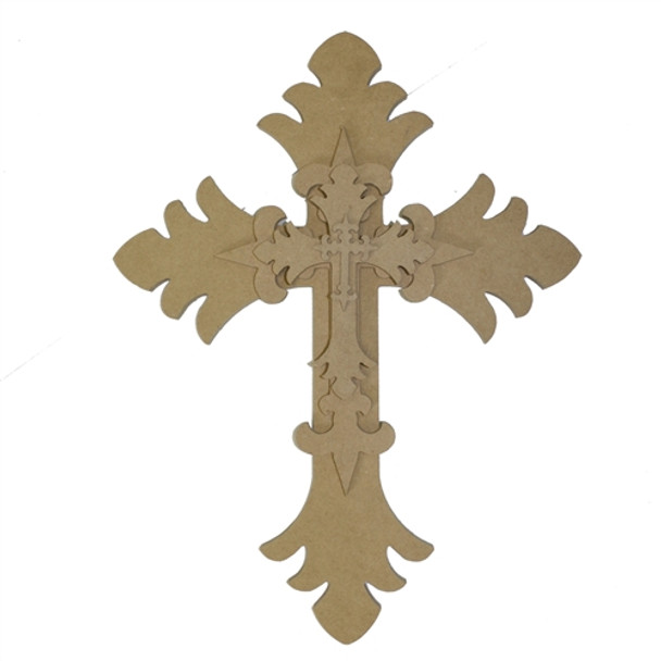 Unfinished Wooden Stacked Kit 1 Layered Crosses 16'' Sets Paintable Craft