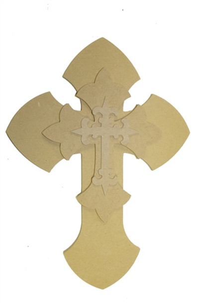 Unfinished Wooden Stacked Kit 7 Layered Crosses 16'' Sets Paintable