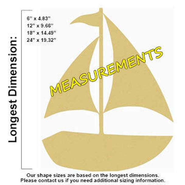 Sailboat Unfinished Cutout measurements