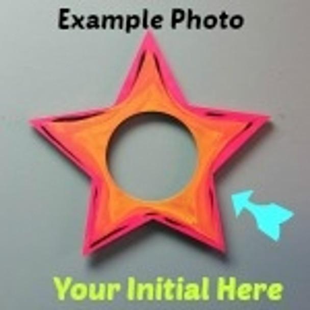 Star Frame Letter Insert Wooden Monogram Unfinished DIY Craft