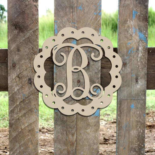 Scallop Monogram Letter Frame Wooden-B