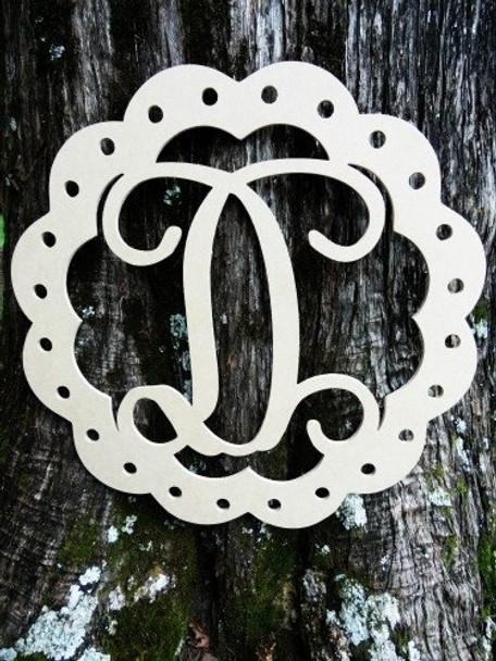 Scallop Monogram Letter Unfinished DIY Craft-D