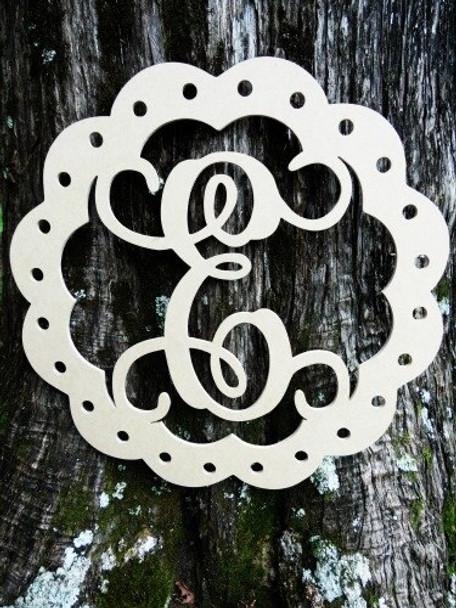 Scallop Monogram Letter Unfinished DIY Craft-E