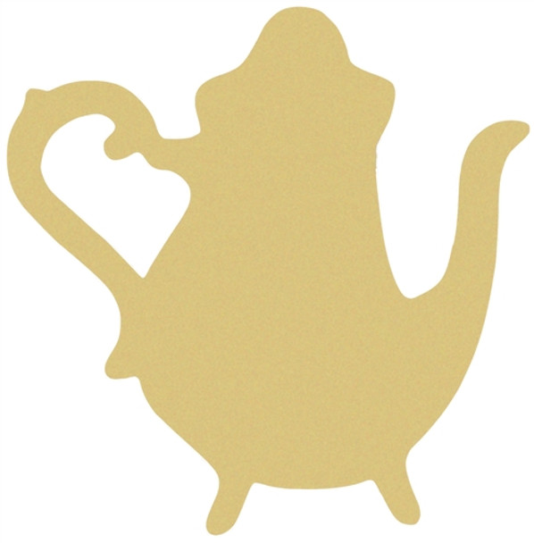 Tall Teapot Unfinished Cutout, Wooden Shape, Paintable Wooden MDF