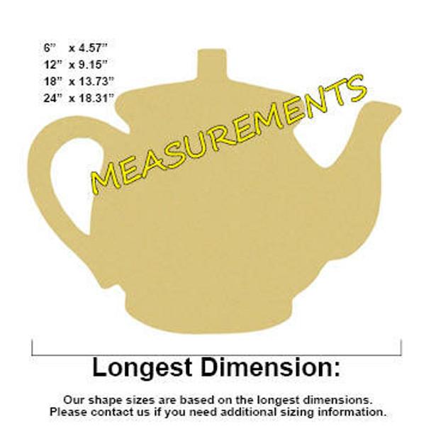 Teapot Unfinished Cutout Paintable Wooden MDF MEASUREMENTS