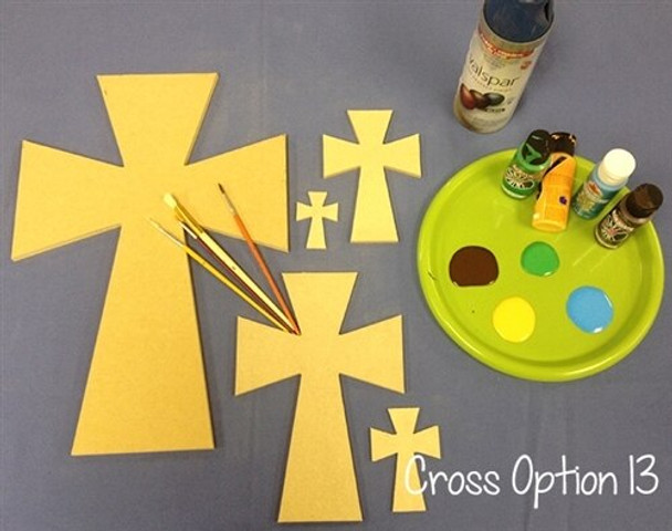 Cross 13 Unfinished Wooden Paintable Wall