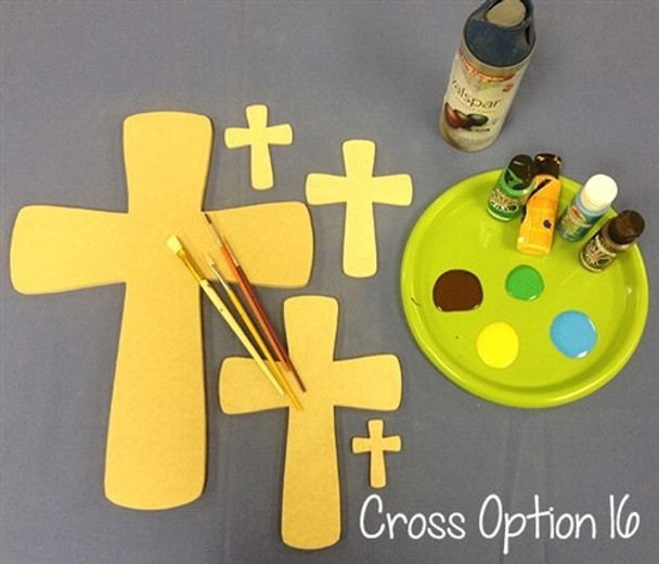 Cross 16 Unfinished Wooden Paintable Wall Hanging Stackable