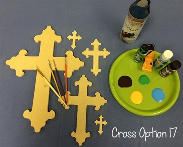 Cross 17 Unfinished Wooden Paintable Wall Hanging Stackable
