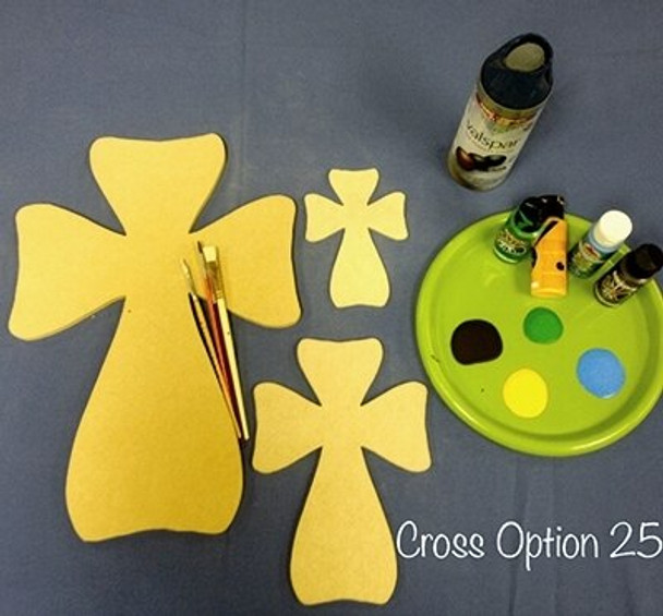 Cross 25 Unfinished Wooden Paintable Wall Hanging Stackable