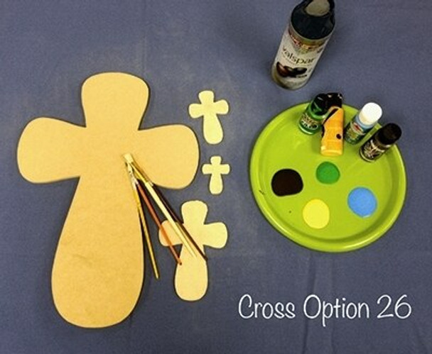 Cross 26 Unfinished Wooden Paintable Wall Hanging Stackable