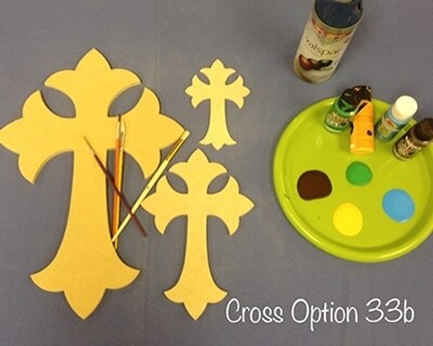Cross 33B Unfinished Wooden Paintable Wall Hanging Stackable