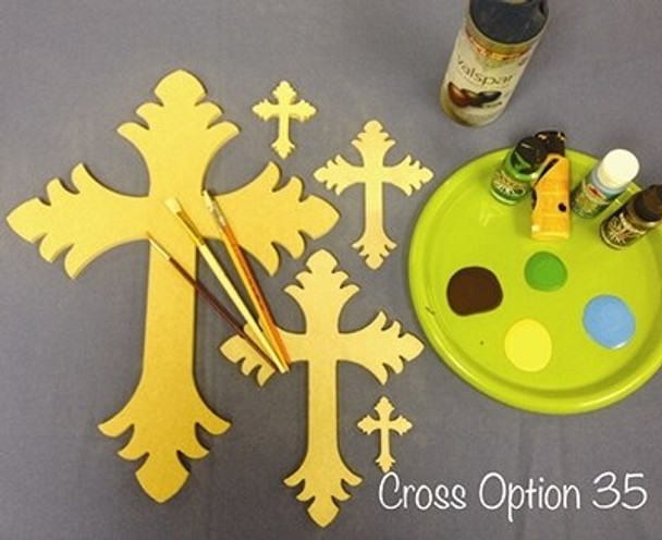Cross 35 Unfinished Wooden Paintable Wall Hanging Stackable