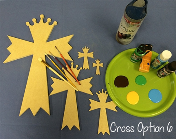 Cross 6 Unfinished Wooden Cross Paint-able Wall Hanging Stackable