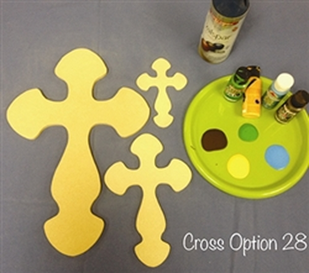 Cross 28 Unfinished Wooden Paintable Wall Hanging Stackable